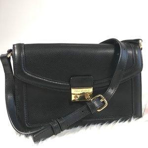 Vera Bradley Black Leather Tess Crossbody Bag